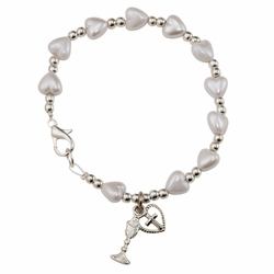 6-3/4 Inch Mother of Pearl Heart Beads First Communion Bracelet with Chalice and Heart Cross Charms