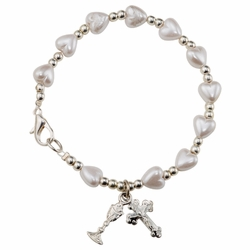 6-3/4 Inch Mother of Pearl Heart Beads First Communion Bracelet with Chalice and Crucifix Charms