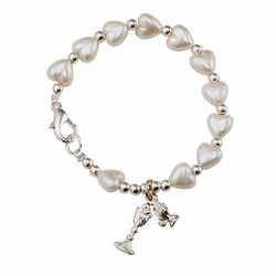 6-3/4 Inch Mother of Pearl Heart Beads First Communion Bracelet with Chalice and Praying Hands  Charms