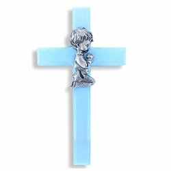 6-3/4 Inch Painted Blue Wood Praying Boy Wall Cross