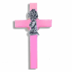 6-3/4 Inch Painted Pink Wood Praying Girl Wall Cross