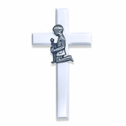 6-3/4 Inch Painted White Wood First Communion Boy Wall Cross