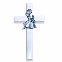 6-3/4 Inch Painted White Wood First Communion Girl Wall Cross