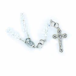 6.5mm Crystal Glass Beads Wedding Rosary with Crucifix and Madonna Center