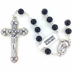 6.5mm Round Black Onyx Beads Rosary with Crucifix and Center