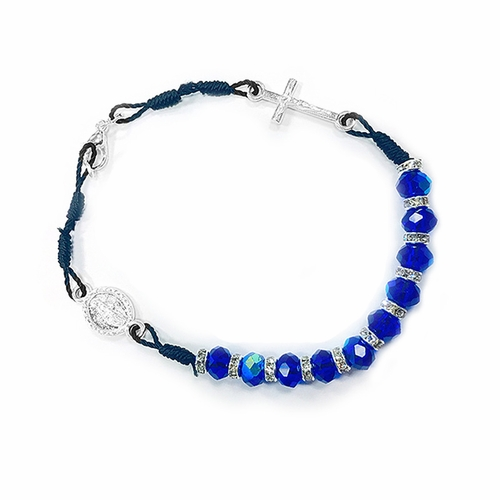 6 Inch Blue Glass Bead Bracelet with Crucifix and Miraculous Charm
