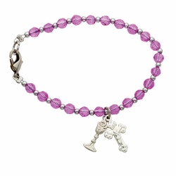 6 Inch Pink Glass Beads First Communion Bracelet with Crucifix and Chalice Charms
