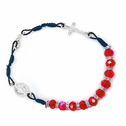 6 Inch Red Glass Bead Bracelet with Crucifix and Miraculous Charm