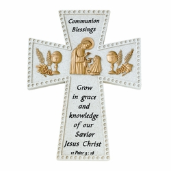 6 Inch Stone Resin First Communion Girl Blessings Wall Cross