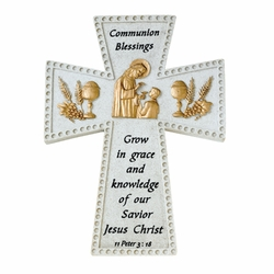 6 Inch Stone Resin First Communion Boy Blessings Wall Cross