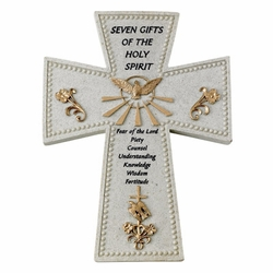 "6"" Resin Confirmation ""Seven Gifts of the Holy Spirit"" Wall Cross"