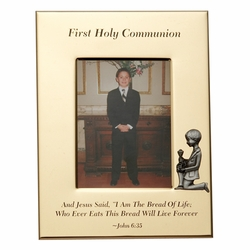 6 x 8-1/2 Inch Gold Plated First Holy Communion Boy Photo Frame
