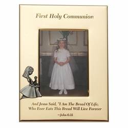 6 x 8-1/2 Inch Gold Plated First Holy Communion Girl Photo Frame