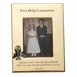 6 x 8-1/2 Inch Gold Plated First Holy Communion Photo Frame