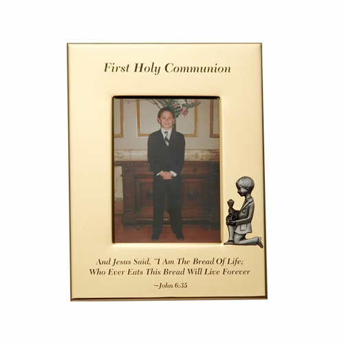 "6"" x 8"" First Holy Communion w/Kneeling Boy Gold Plated Metal Photo Frame"