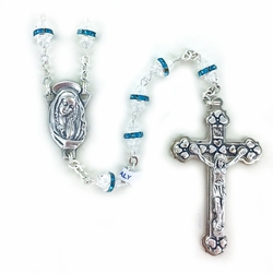 6mm Aqua Crystal Glass Beads Rosary with Center and Crucifix