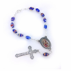 6mm Blue Oval Murano Beads Auto Rosary with Crucifix and St. Christopher Center