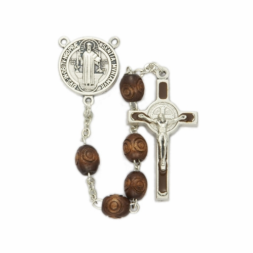 6mm Carved Wood Beads and St. Benedict Center  Rosary