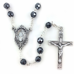 6mm Round Hematite Beads Rosary with Crucifix and Center