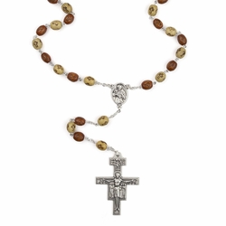 6mm Wood Bead Franciscan Rosary with Crucifix and St. Francis Center