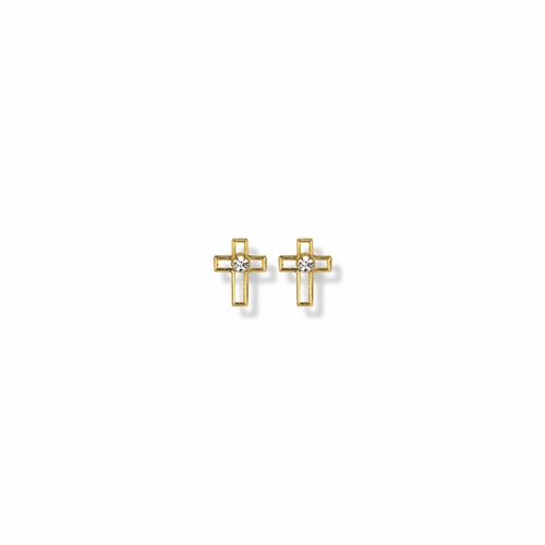 7/16 Inch 14K Gold Filled Cross Outline with CZ Center Stone Earrings