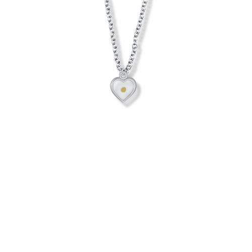7/16 Inch Sterling Silver Mustard Seed Heart Necklace