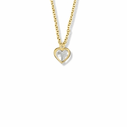 7/16 Inch Two-Tone 14K Gold Filled Cross and Open Heart Necklace