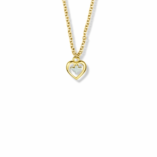 7/16 Inch Two-Tone 18KT Gold Plated Over Sterling Silver Dove and Open Heart Necklace