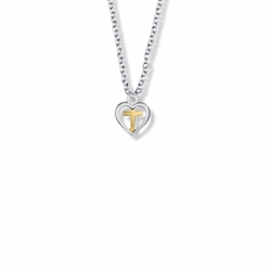 7/16 Inch Two-Tone Sterling Silver Cross and Open Heart Necklace