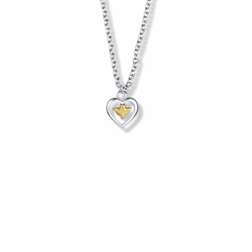 7/16 Inch Two-Tone Sterling Silver Dove and Open Heart Necklace