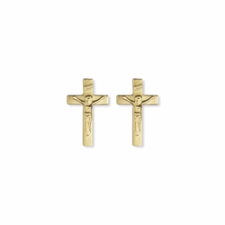 7/16 x 1/4 Inch 14K Gold Over Sterling Silver Crucifix Earrings