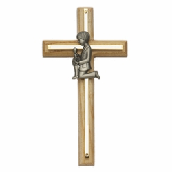 7-3/4 Inch Oak and Screened Brass Cross with Pewter First Communion Boy