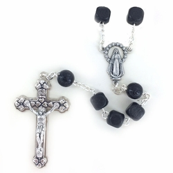 7.5mm Square Black Wood Beads Rosary with Crucifix and Center