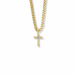 7/8 Inch 14K Gold Filled Budded Budded Ends Cross Necklace with Cubic Zirconia Stones