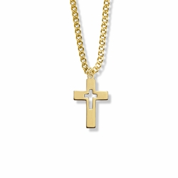 7/8 Inch 14K Gold Filled Cut Out Cross Necklace