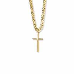 7/8 Inch 14K Gold Filled Stick Cross Necklace