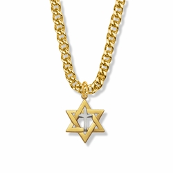 7/8 Inch 14K Gold Filled Two-Tone Star of David with Cross Necklace