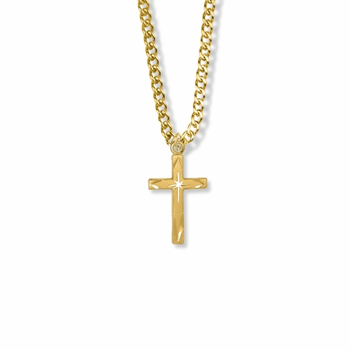 7/8 Inch 14K Gold Over Sterling Silver Centered Starburst Cross Necklace