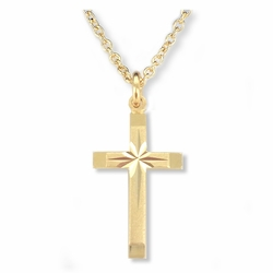 7/8 Inch 14K Gold Over Sterling Silver Engraved Inner Cross and Polished Tips Cross Necklace