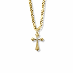 7/8 Inch 14K Gold Over Sterling Silver Flared and Pointed Ends Cross Necklace with Cubic Zirconia Stone