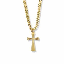 7/8 Inch 14K Gold Over Sterling Silver Flared Line Cross Necklace