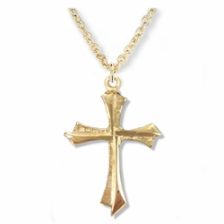 7/8 Inch 14K Gold Over Sterling Silver Flared Pointed Ends Cross Necklace