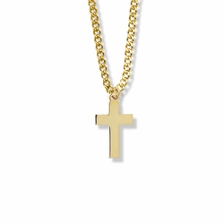 7/8 Inch 14K Gold Over Sterling Silver Plain Cross Necklace