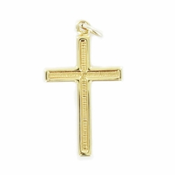 7/8 Inch 14K Gold Over Sterling Silver Recessed Cross Necklace
