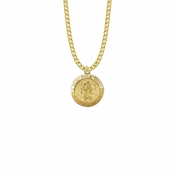 7/8 Inch 14K Gold Over Sterling Silver Round St. Christopher Medal, Patron Saint of Travelers