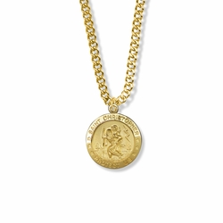 7/8 Inch 14K Gold Over Sterling Silver Round St. Christopher Medal, Patron of Travelers