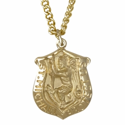7/8 Inch 14K Gold Over Sterling Silver St. Michael Badge Shield Medal, Patron of Police