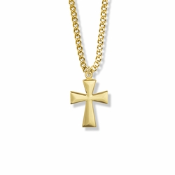 7/8 Inch Brass Gold Plated Boy First Communion Flare Cross Necklace