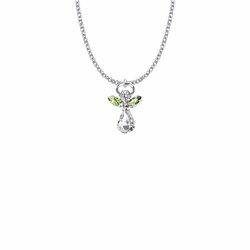 7/8 Inch Silver Plated Glass Crystal August Peridot Birthstone Angel Necklace