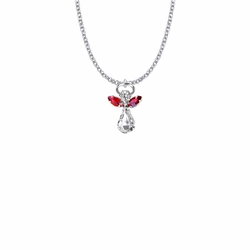 7/8 Inch Silver Plated Glass Crystal July Ruby Birthstone Angel Necklace